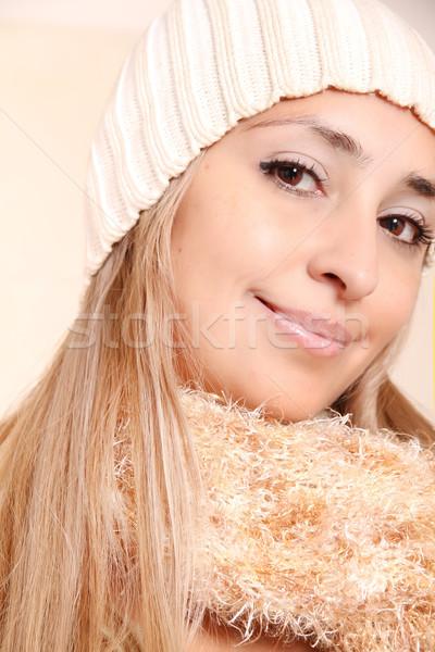 Kış giyim genç kadın poz kız göz Stok fotoğraf © Spectral