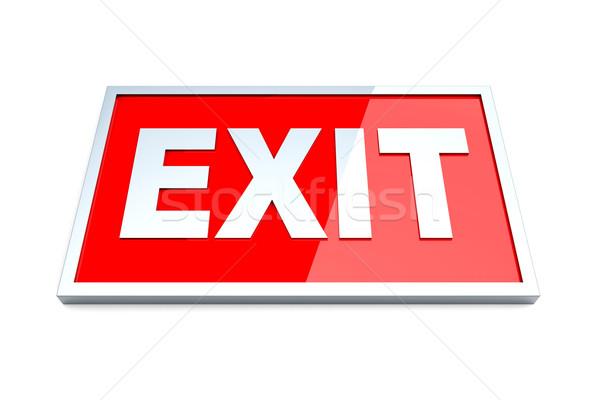 Verlassen exit sign 3D gerendert Illustration isoliert Stock foto © Spectral