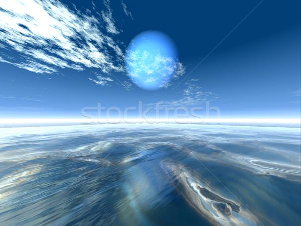 Blauwe hemel 3D gerenderd landschap natuur landschap Stockfoto © Spectral