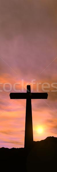 Croix 3d illustration symbole christianisme coucher du soleil paysage Photo stock © Spectral