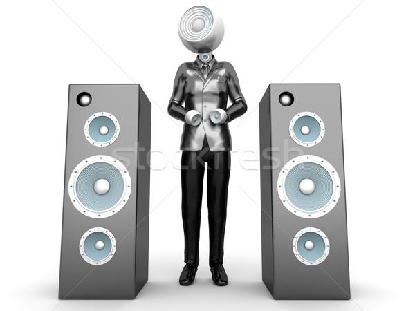 Stereo testa business audio piedi altoparlanti Foto d'archivio © Spectral