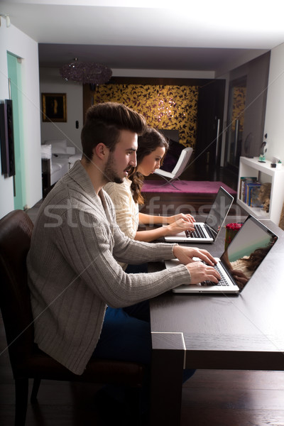 Laptop Computer home Abend mit Laptop Stock foto © Spectral