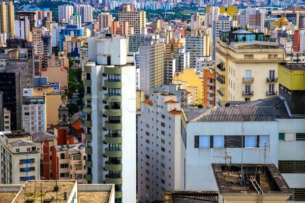 Sziluett Sao Paulo Brazília dél-amerika iroda város Stock fotó © Spectral