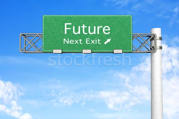 Sinal da estrada futuro 3D prestados ilustração próximo Foto stock © Spectral