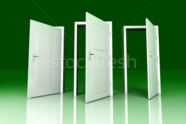 Photo stock: Ouvrir · portes · tous · 3D · rendu