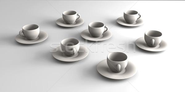 кофейные чашки 3D оказанный иллюстрация кофе Сток-фото © Spectral