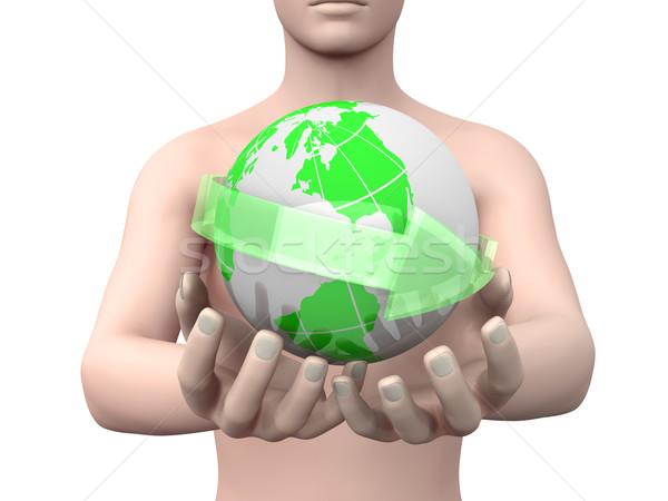Сток-фото: Мир · рук · 3D · оказанный · иллюстрация