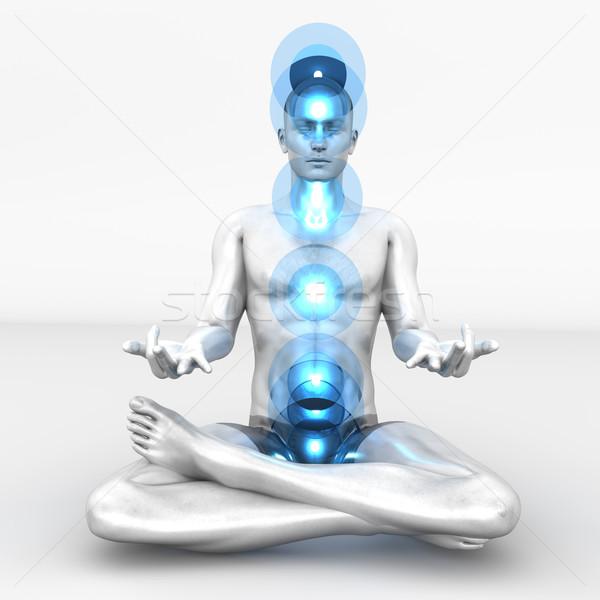 Chakra meditação mulher completo 3D Foto stock © Spectral