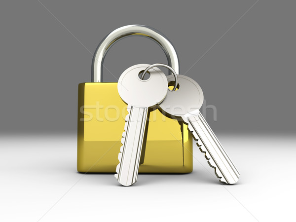 Candado claves 3D prestados ilustración seguridad Foto stock © Spectral