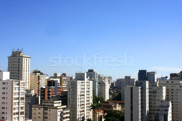 Sziluett Sao Paulo Brazília város kék utazás Stock fotó © Spectral