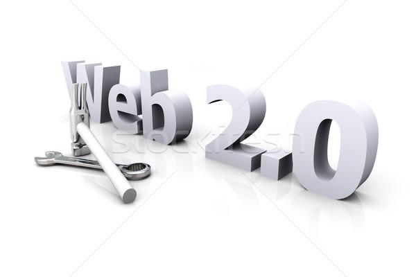 Web 20 construction 3d illustration site isolé Photo stock © Spectral