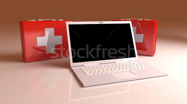 ноутбука первая помощь 3D оказанный иллюстрация клавиатура Сток-фото © Spectral