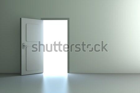 Foto stock: Porta · abrir · a · porta · cidade · parede · pôr · do · sol · natureza