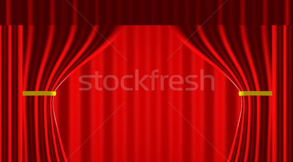 красный занавес 3d иллюстрации фон кадр фильма Сток-фото © Spectral
