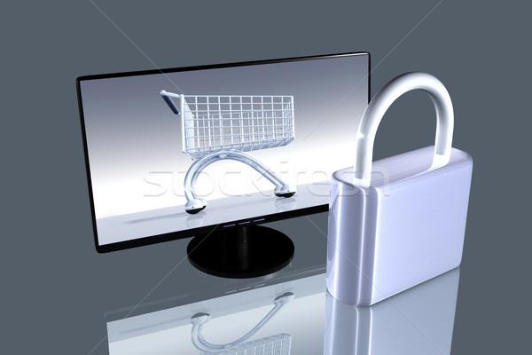Beveiligde online winkelen 3D gerenderd illustratie nota Stockfoto © Spectral