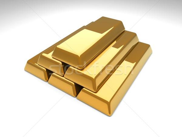 Goldbarren Pyramide 3D gerendert Illustration Business Stock foto © Spectral