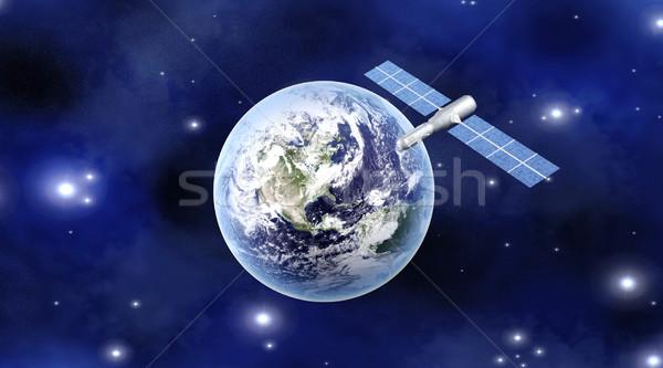 衛星 地球 3D レンダリング 実例 コンピュータ ストックフォト © Spectral
