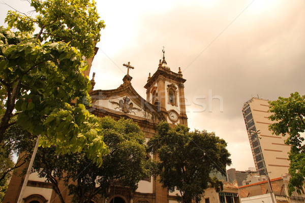 Rio de Janeiro kilise Brezilya güney amerika ağaç Bina Stok fotoğraf © Spectral