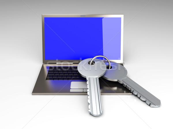 Beveiligde laptop paar sleutels 3D gerenderd Stockfoto © Spectral