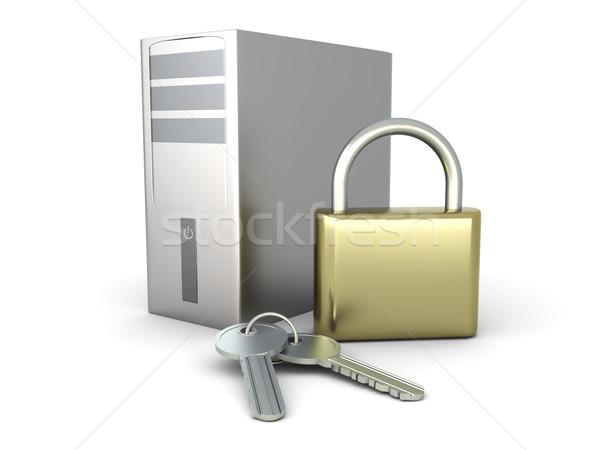 Stockfoto: Computer · veiligheid · beveiligde · desktop · pc · 3D