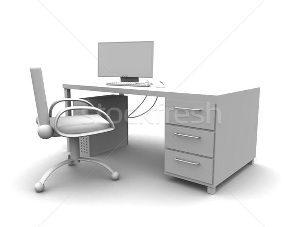 Pc werkplek 3D gerenderd business kantoor Stockfoto © Spectral