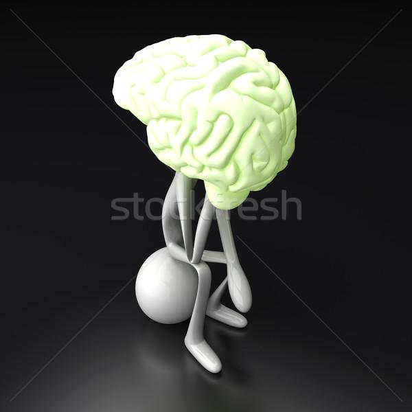 Gondolkodó rajz alkat hatalmas agy 3D Stock fotó © Spectral