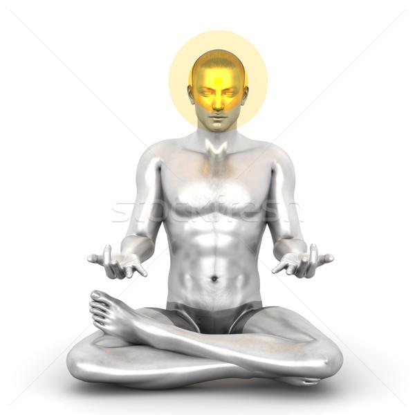 Chakra meditatie vrouw 3D gerenderd Stockfoto © Spectral