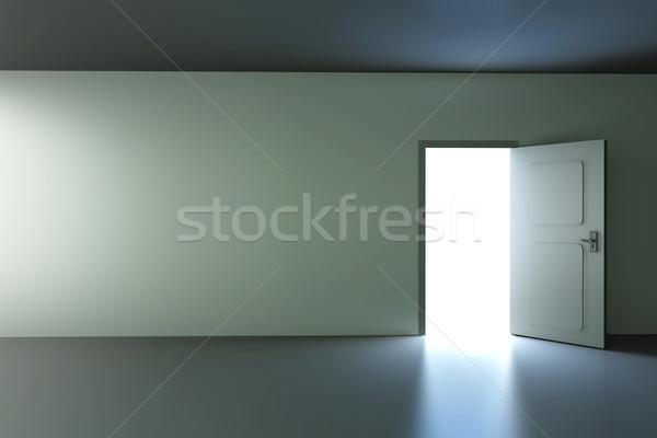 Open deur lege kamer 3D gerenderd illustratie huis Stockfoto © Spectral