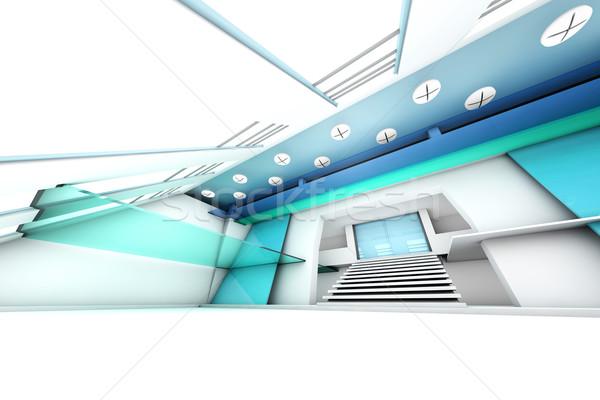Entreprise entrée salle futuriste bâtiment 3D Photo stock © Spectral