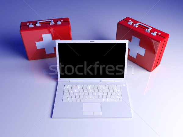 Stock photo: Laptop First aid