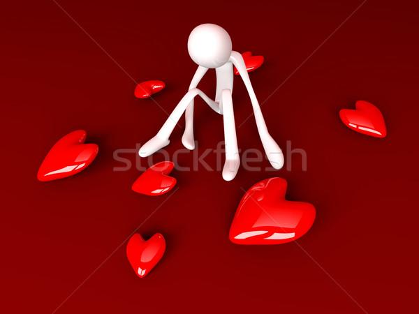 3D renderelt illusztráció szív piros arany Stock fotó © Spectral