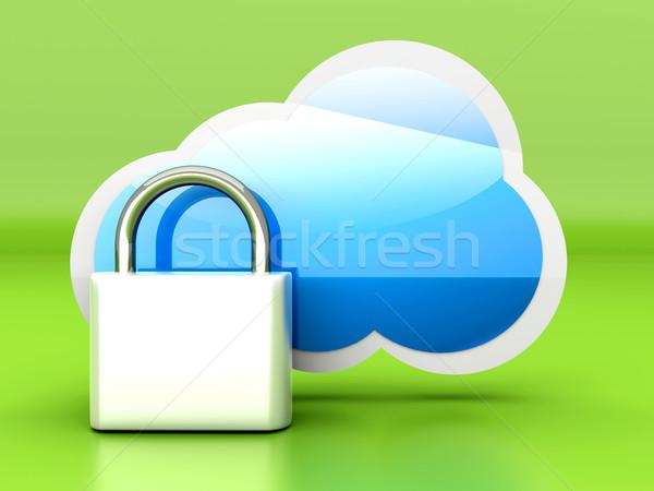 Beveiligde wolk 3D gerenderd illustratie Stockfoto © Spectral
