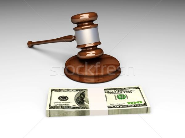 Açık artırma mahkeme çekiç 3D render örnek Stok fotoğraf © Spectral