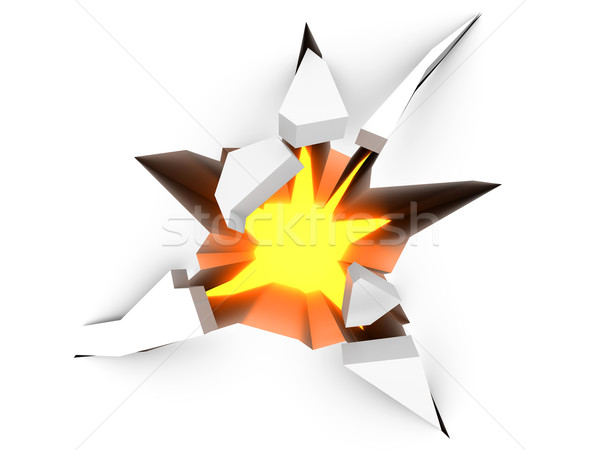 Imagine de stoc: Crăpa · podea · 3D · prestate · ilustrare · incendiu