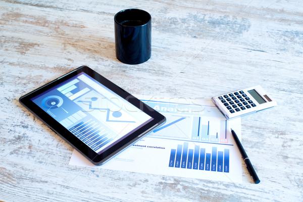 Business analytics houten bureau computer Stockfoto © Spectral