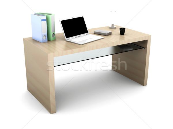 Desktop houten 3D gerenderd illustratie geïsoleerd Stockfoto © Spectral