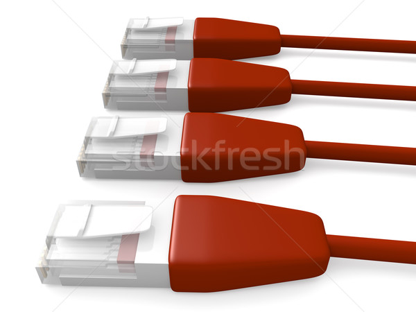 Piros hálózat kábelek 3D renderelt LAN Stock fotó © Spectral