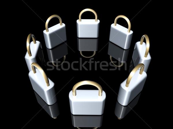 3d ilustracji metal cyfrowe żelaza bezpieczne ochrony Zdjęcia stock © Spectral