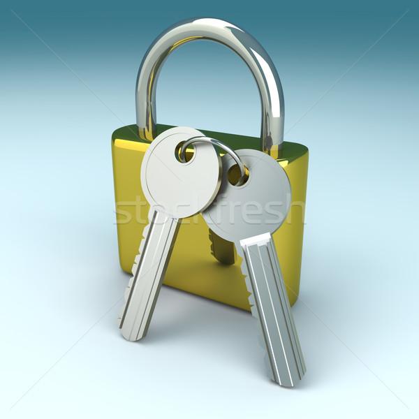 Kłódki klucze 3D świadczonych ilustracja bezpieczeństwa Zdjęcia stock © Spectral