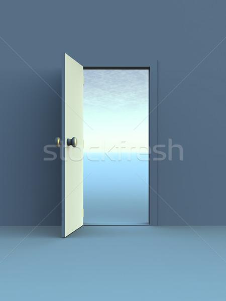 Open deur 3D gerenderd illustratie succes digitale Stockfoto © Spectral