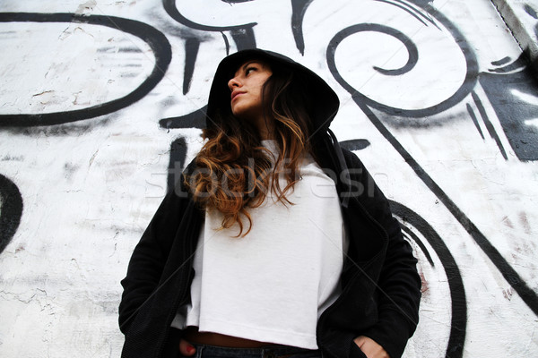 Girl leaning on a Wall Stock photo © Spectral