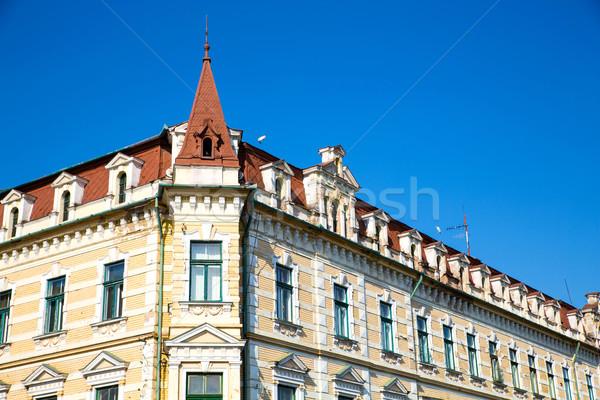 Historische architectuur Roemenië Europa gebouw zomer Blauw Stockfoto © Spectral