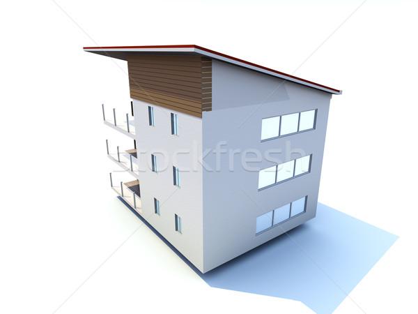 Modern gebouw 3D gerenderd illustratie huis bouw Stockfoto © Spectral