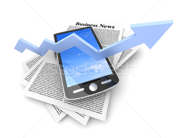 On the rise - Smartphone in the Business News Stock photo © Spectral
