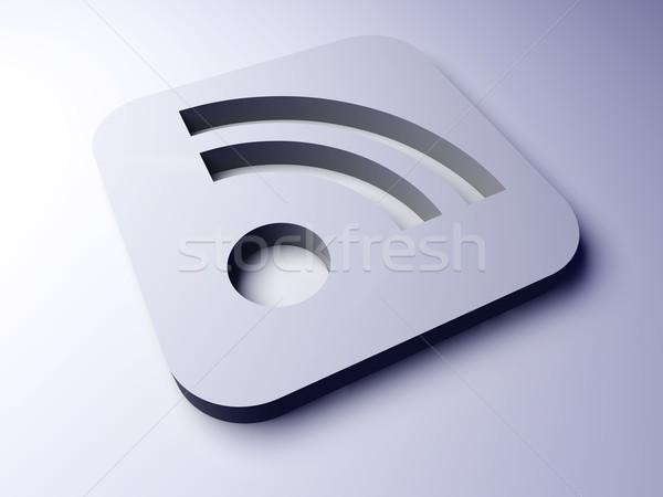 Rss symbol 3D świadczonych ilustracja Internetu Zdjęcia stock © Spectral