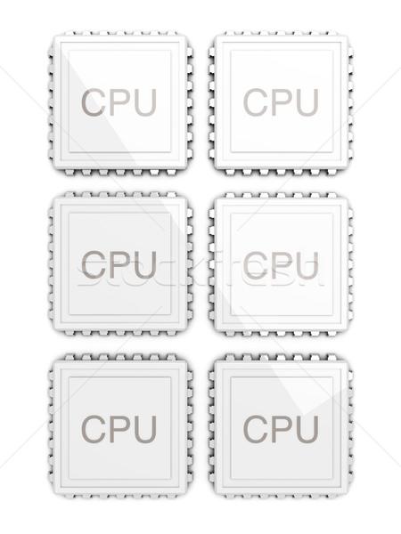 Foto stock: Seis · núcleo · cpu · 3D · prestados · ilustração