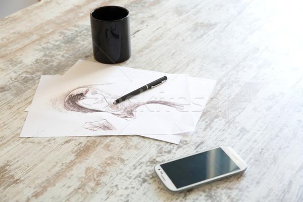 Sketch disegno tavola ufficio moda pen Foto d'archivio © Spectral