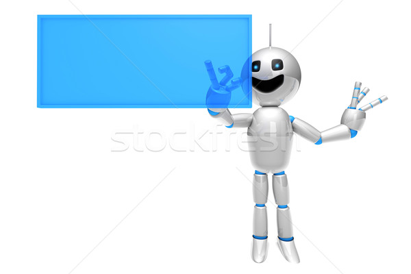 Cartoon Robot using a virtual Touchscreen Stock photo © Spectral