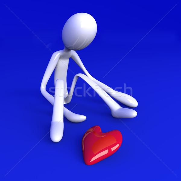 3D prestados ilustración corazón rojo oro Foto stock © Spectral