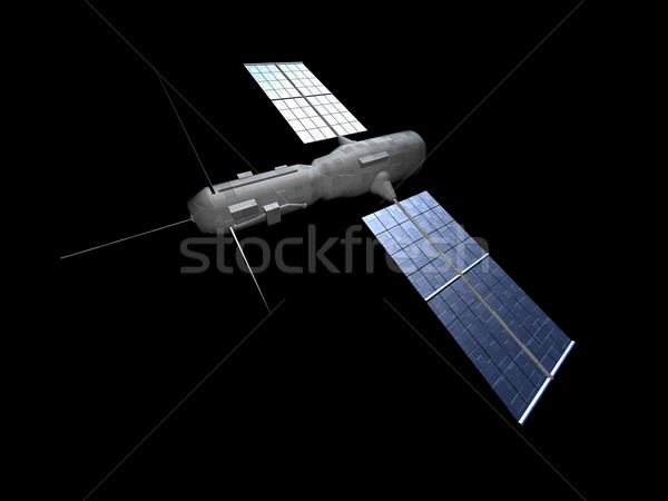 Foto stock: Satélite · aislado · negro · ciencia · comunicación · industrial